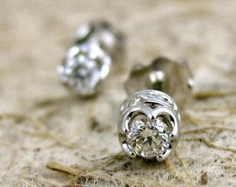 Diamond Stud Earrings in 14K White Gold with Scrolls on Custom Made Baskets