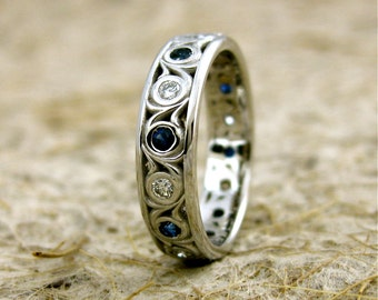 Diamond & Blue Sapphire Wedding Ring in 14K White Gold with Vintage Inspired Scrolls Size 5