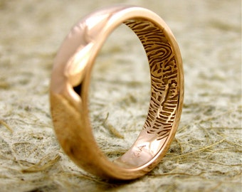 Wedding Ring with Finger Print Artwork in 14K Rose Gold with Rounded Profile and Glossy Finish Size 8
