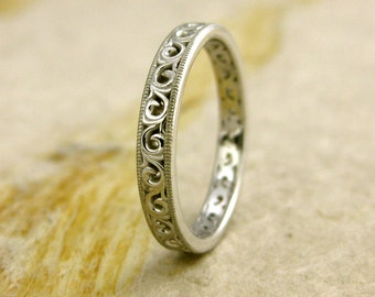 Handmade Floral Patterned Wedding Ring in 14K White Gold with Scrolls and Mil Grain Detailing on Edges Size 6