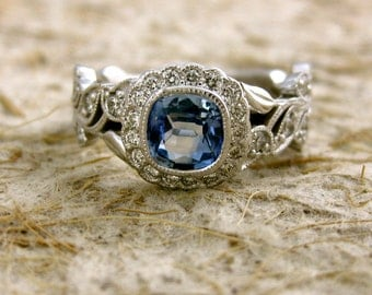 Light Blue Sapphire Engagement Ring in 14K White Gold with Diamonds in Flower and Leafs on Vine Size 6