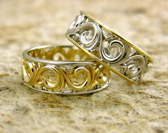 Floral Scroll Wedding Rings in Two Toned 14K White and 14K Yellow Gold Size 8