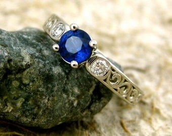 Navy Blue Ceylon Sapphire and Diamond Engagement Ring in Platinum with Matching Wedding Band Size 9