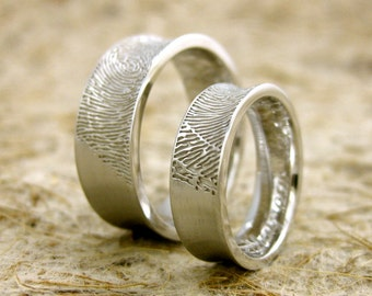 Finger Print Wedding Rings in 14K White Gold with Concave Matte Surface Sizes 11 & 5