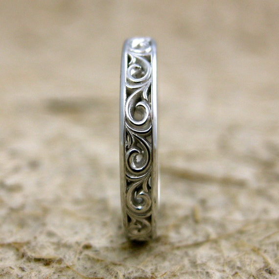 Handmade Flower Patterned Wedding Band in 14K White Gold with Scrolls and Glossy Finish Size 6