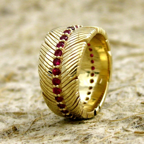 Feather Wrap Wedding Band in 14K Yellow Gold with Red Rubies on Spine and Glossy Finish Size 5/10-5mm