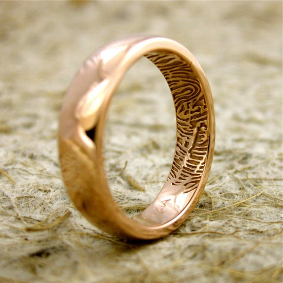 Wedding Ring with Finger Print Artwork in 14K Rose Gold with Rounded Profile and Glossy Finish Size 8/5mm