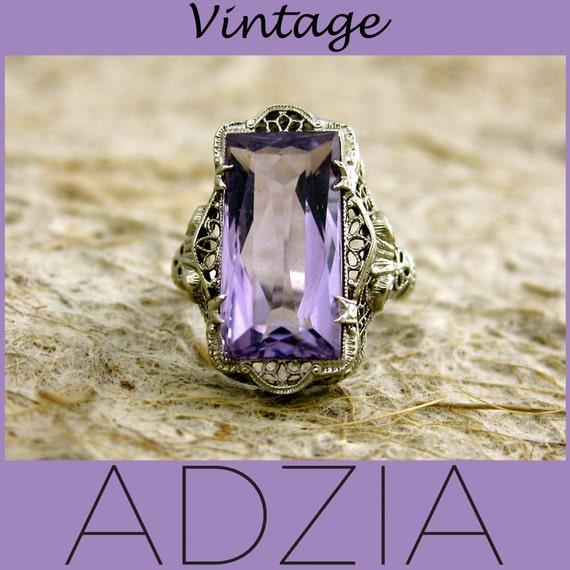 Vintage Art Nouveau 14k White Gold Filigree Amethyst Ring