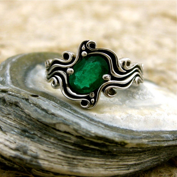 Forest Green Oval Emerald Engagement Ring in 14K White Gold with Ocean Wave Sea Surf Theme with Blackened Grooves