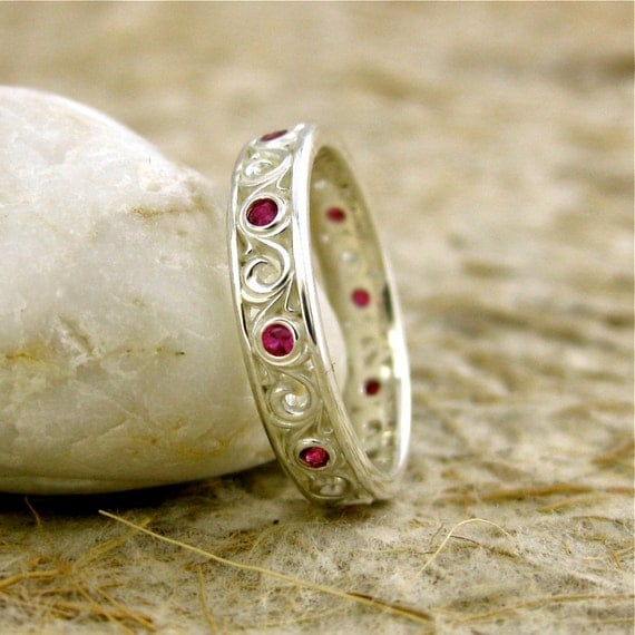 Ruby Wedding Ring in Sterling Silver with Scrolls and Matte Finish Size 6
