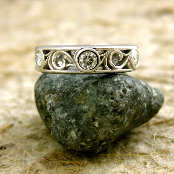 Moissanite Wedding Ring in 14K White Gold with Large Scroll Pattern Size 5