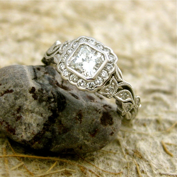 Radiant Cut Diamond Engagement Ring in 14K White Gold with Vintage Inspired Flower Buds & Leaf on Vine Motif Size 6