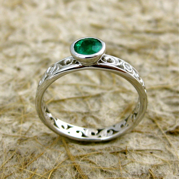 Dark Green Emerald Engagement Ring In 14K White By