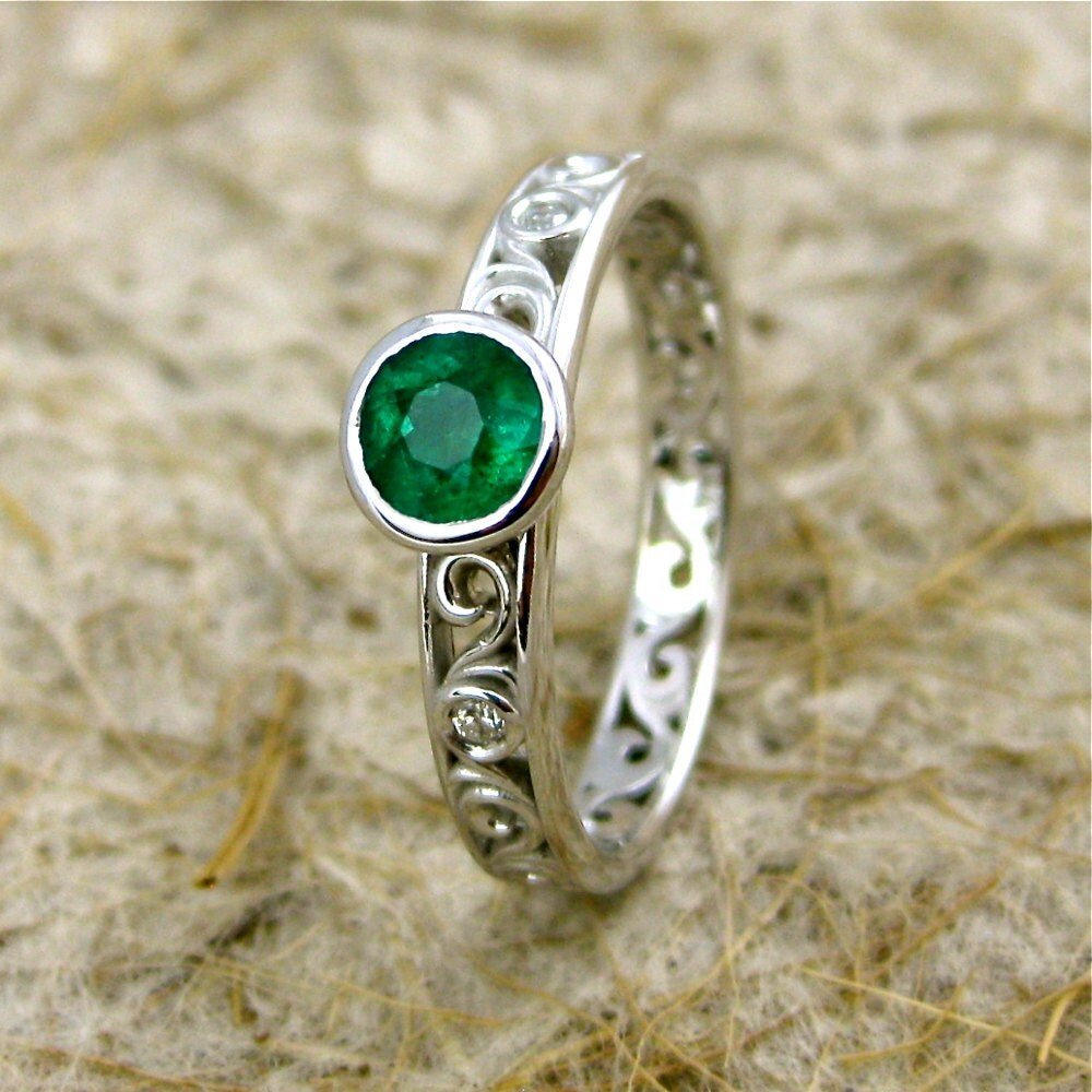 Dark Green Emerald Engagement Ring In 14K White Gold With