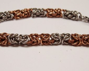 Bronze and Stainless Steel Byzantium Weave Chainmaille Bracelet