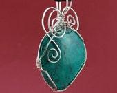 Turquoise pendant, Sterling Silver,  wire wrap, matte finish, Kingman Mine, - P108
