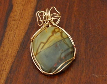 Red Creek Jasper pendant with 14k Gold wrap - P16
