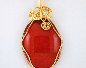 Oval Red Jasper, 14k Gold Filled wire wrap - P166