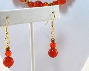 Earrings, Carnelian and gold, orange, beaded, pierced    - N22