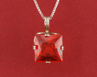 Square Padparadsha sapphire, Sterling silver setting and chain -N25