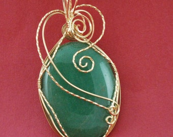 Green Aventurine cabochon with 14k Gold Filled wire wrap - P143