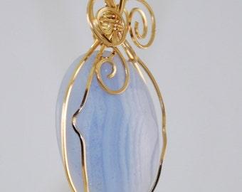 Blue Lace agate pendant, 14k Gold Filled, wire wrap, swirl design P177