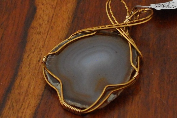 Brown translucent Agate with Antique Copper wire wrap - P02