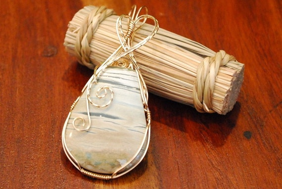 Misty Mountain Jasper pendant in 14k Gold Filled wire wrap - P11