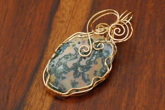Pink and Green Ocean Jasper with 14k Gold Filled Wire Wrap - P13