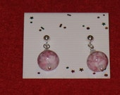 Pink and White Lampwork Dangle Earrings