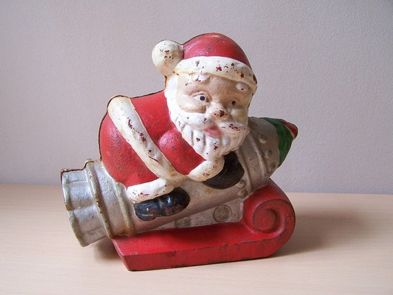 Santa riding rocket ship cast iron coin bank by thymekatchers - Rocket ship piggy bank ...