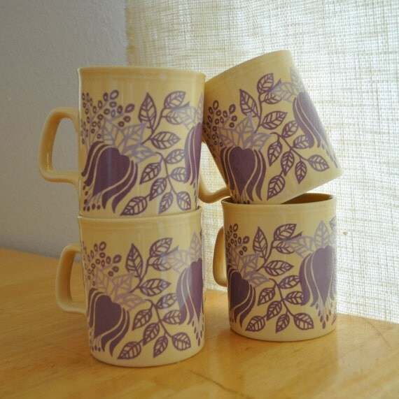 staffordshire potteries mugs set of 6 - mod lavender blossoms and foliage