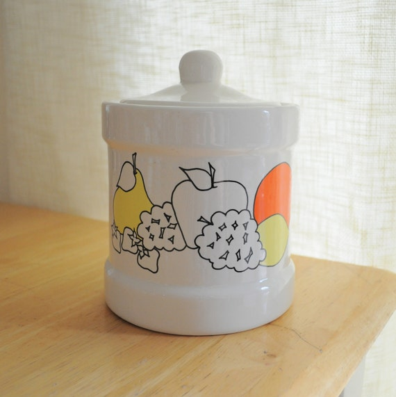 ceramic kitchen canister with mod fruit graphics