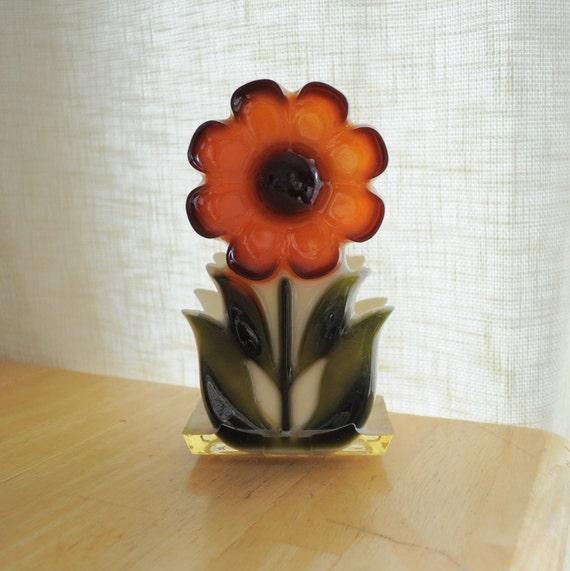 retro mod orange flower resin napkin or paper holder