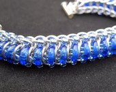"""Chainmail and Glass Bracelet - Silver and Blue """"Glass Caterpillar"""""""