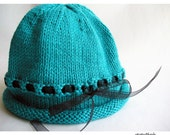 Hand Knit Baby Hat, Photo Prop, Turquoise Cotton Black Ribbon, Size 12-24 mos.
