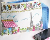 Cosmetics Bag Knitting Notions Zipper Pouch Paris Eiffel Tower Print Blue & Pink Larger Size