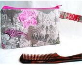 Cosmetics Bag, Knitting Notions Zipper Pouch, Project Bag Gray Hot Pink Silver Glitter Urban Angel