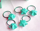 Knitting Stitch Markers, Origami Stars, Teal Rings, Turquoise White Polka Dots, Set of 5, Gift Box