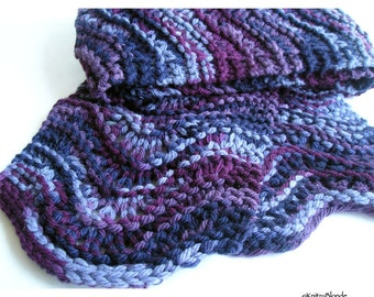 Hand Knit Scarf, Scalloped Lace, Thick Chunky Hand Dyed Wool, Amethyst Purple Plum Lilac Eggplant