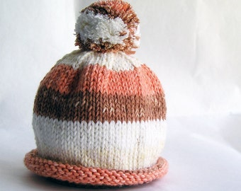 Baby Hat Hand Knit Orange & Rust Stripes with Roll Brim and Pom Pom, Great for Photo Props