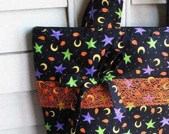 Knitting Tote Bag Autumn Leaves Moons & Stars Black Orange - Perfect Handbag Knitting Tote Combo