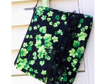Cosmetics Bag Knitting Notions Zipper Pouch Green Ivy Cotton Black Organza Ruffles Wrist Strap