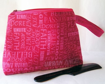 Cosmetics Bag Knitting Notions Zipper Pouch Urban Angel HoneySuckle Pink Larger Size