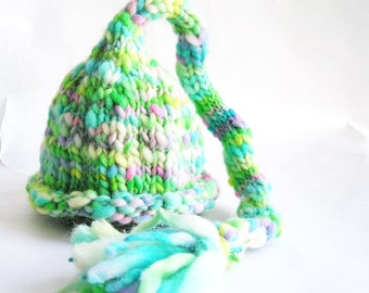 Baby Elf Hat, Hand Knit, Green Blue White, Pixie, Merino Wool, Long Tail Tassle