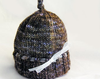 Hand Knit Baby Hat, Photo Prop, Merino Wool, Multi Color, Organza Ribbon, Brown Gold Lilac Violet