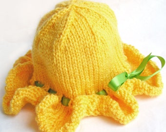 Baby Sun Hat, Ruffle Brim, Photo Prop, Sunshine Yellow, Soft Vegan Yarn, Satin Ribbon - CUSTOM Sized