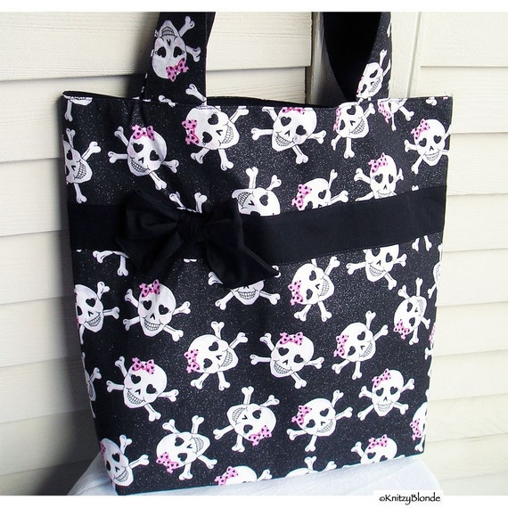 Knitting Tote Bag, Girly Sugar Skulls, Pirate Black & Pink with Glitter, Sturdy, Lots of Pockets