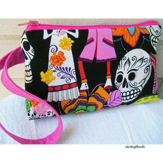 Cosmetics Bag, Knitting Notions Pouch, Sugar Skulls, Day of the Dead, Hot Pink Black