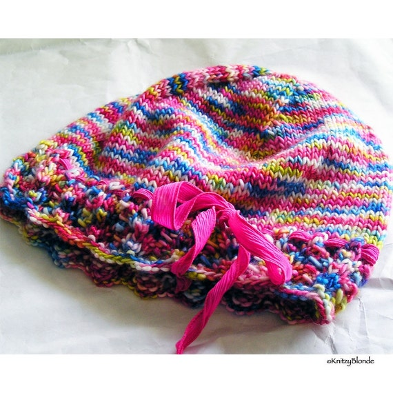 Lacy Hat, Hand Knit Lace Edged Hat, Hand Dyed Merino Wool Bright Multi Colors, Pink and Blue